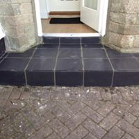 New slate tiled step